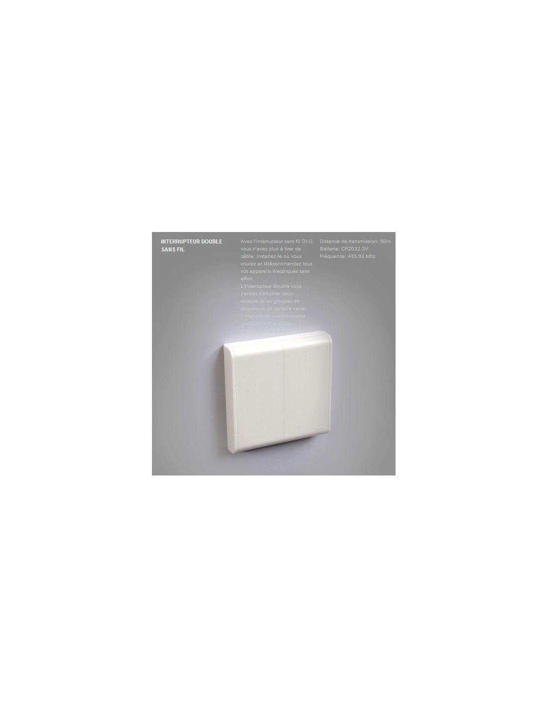interrupteur mural sans fil double ivoire chacon en stock. Black Bedroom Furniture Sets. Home Design Ideas
